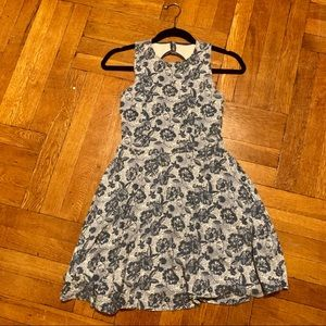 Hollister Blue and White Floral Open Back Dress